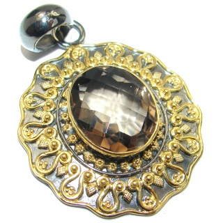 Vintage Beauty Smoky Topaz 14K Gold over .925 Sterling Silver handmade Pendant