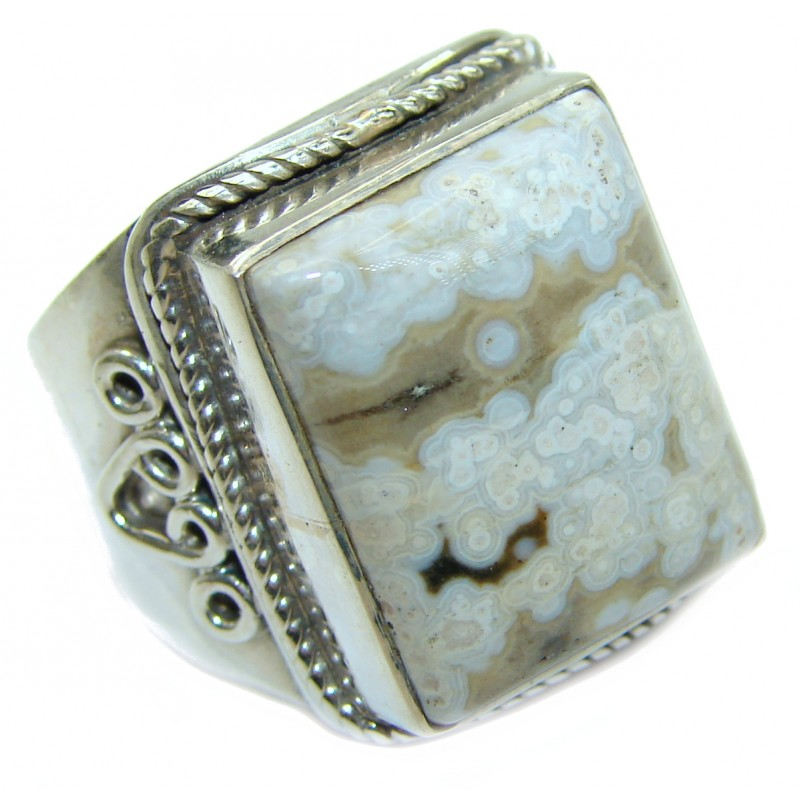 Ocean Jasper .925 Sterling Silver handmade Cocktail Ring s. 8 3/4