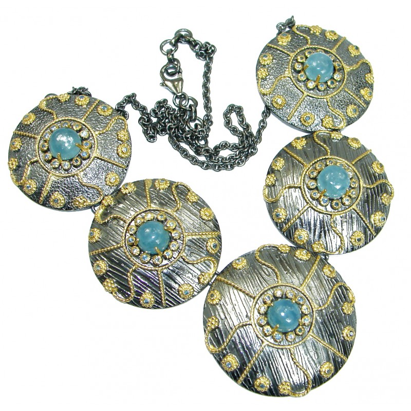 Byzantine Style True Art genuine Aquamarine 14K Gold over Rhodium over .925 Sterling Silver handcrafted necklace