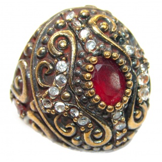 Large Victorian Style created Ruby & White Topaz Sterling Silver ring; s. 6 3/4