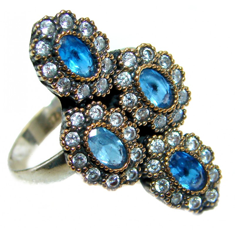 Large Victorian Style created Sapphire & White Topaz Sterling Silver ring; s. 8 1/4
