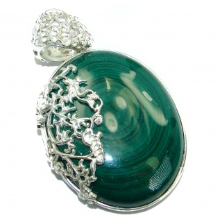 Top Quality Malachite Oxidized .925 Sterling Silver handmade Pendant