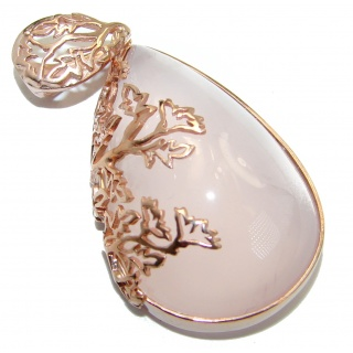 Timeless Beauty Rose Quartz 103ct Rose Gold over .925 Sterling Silver handcrafted Pendant