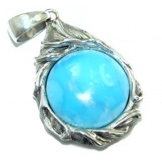 Blue Beauty genuine Larimar .925 Sterling Silver handmade pendant