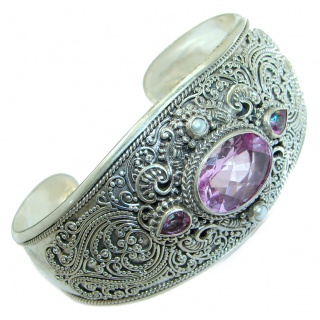 Chunky Luxury Pink Rainbow Magic Topaz .925 Sterling Silver handmade Cuff/Bracelet