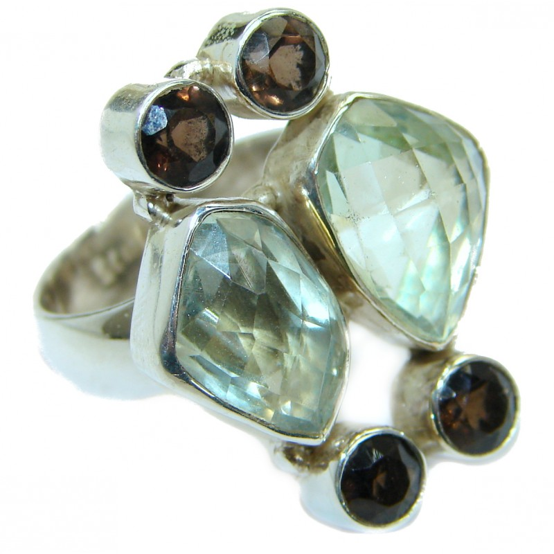 Natural Green Amethyst .925 Sterling Silver handmade Cocktail Ring s. 7