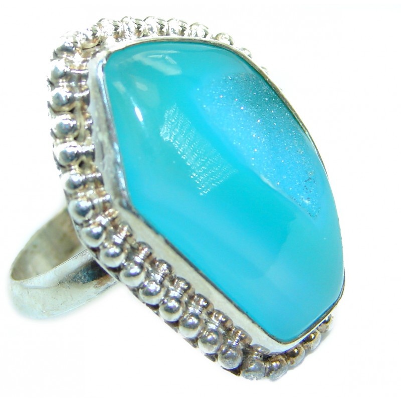 Exotic Druzy Agate .925 Silver Ring s. 10
