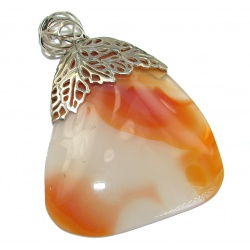Rustic Design Botswana Agate .925 Sterling Silver handcrafted Pendant