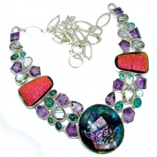 Color Fusion Dichroid Glass & MultiGEM .925 Sterling Silver handcrafted necklace