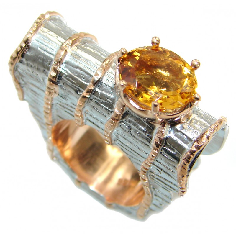 Huge Dramatic Design genuine Citrine .925 Sterling Silver handmade Cocktail Ring s. 6 1/4