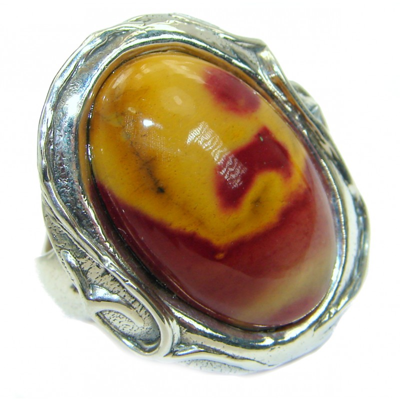 Flawless Australian Bracciated Mookaite .925 Sterling Silver Ring size 7 adjustable