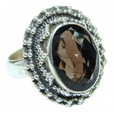 Incredible Smoky Quartz .925 Sterling Silver Ring s. 7
