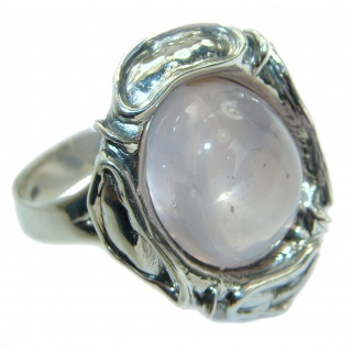 Best Quality Rose Quartz .925 Sterling Silver handcrafted ring s. 7 adjustable