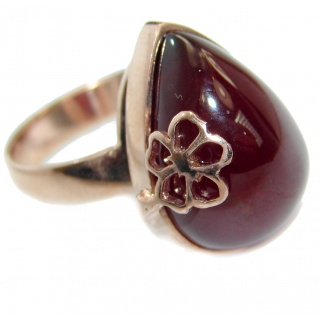 Genuine 40 ct Garnet 18K Gold over .925 Sterling Silver handmade Cocktail Ring s. 7 3/4