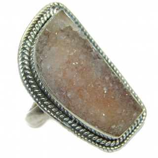 Exotic Druzy Agate .925 Silver Ring s. 6 3/4