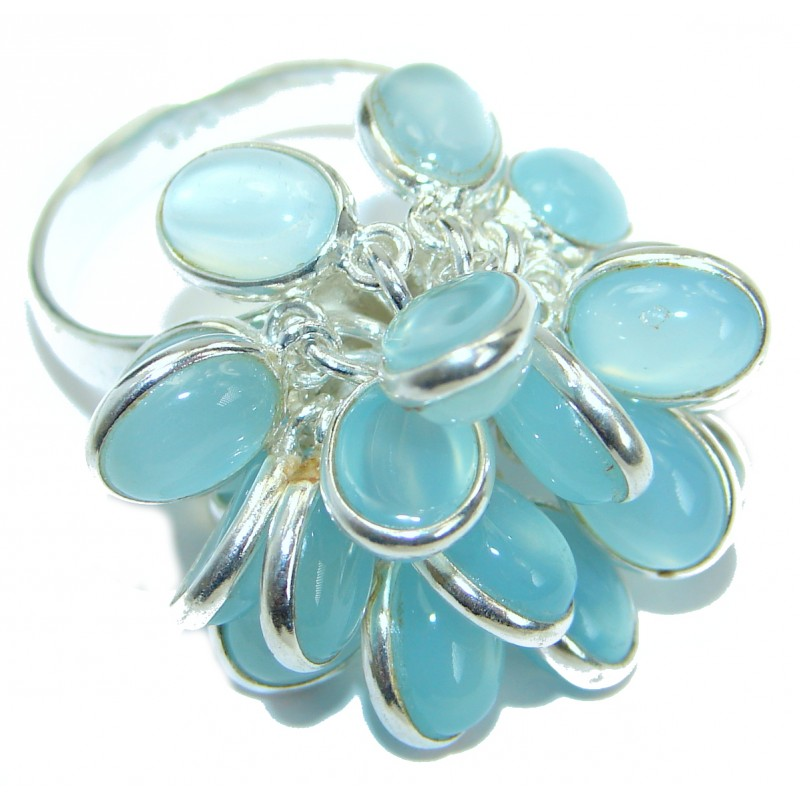 Blue Chalcedony Agate .925 Sterling Silver handcrafted Ring s. 7