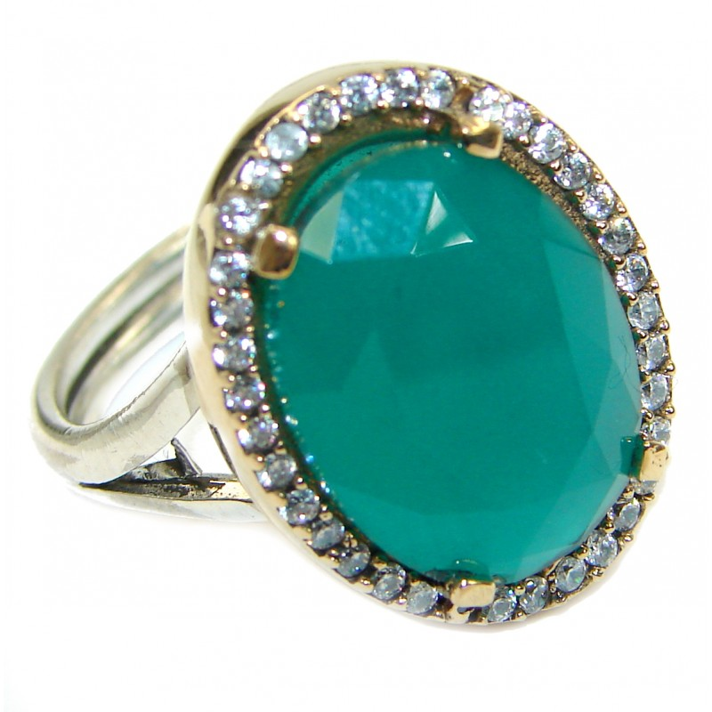 Victorian Style created Emerald & White Topaz Copper over Sterling Silver ring; s. 8 adjustable