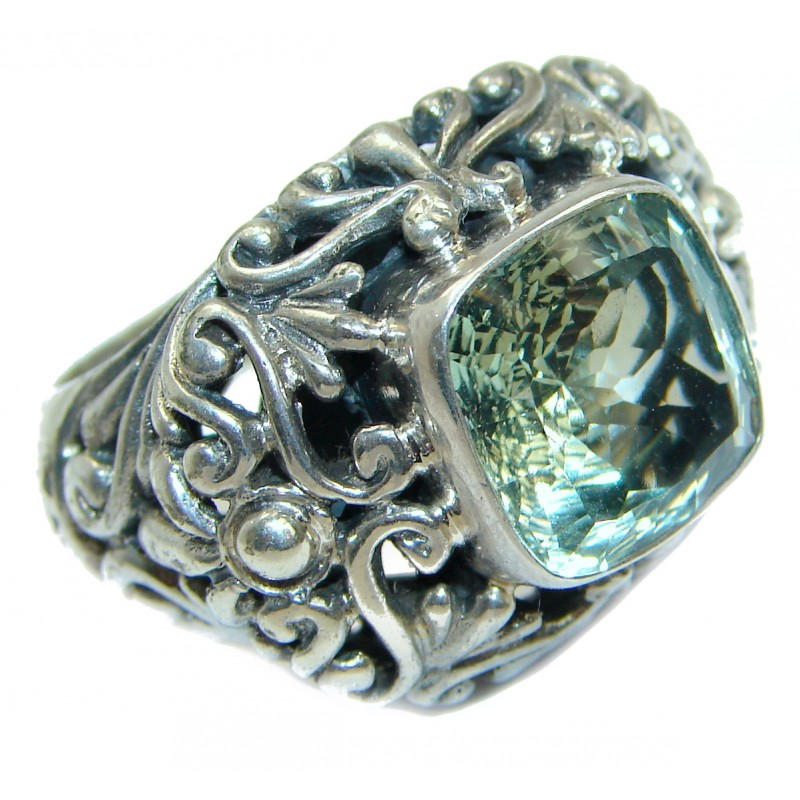 Natural Green Amethyst .925 Sterling Silver handmade Cocktail Ring s. 7 1/4
