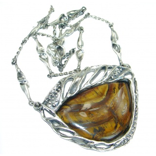 One of the kind Nature inspired Golden Tigers Eye .925 Sterling Silver handmade necklace