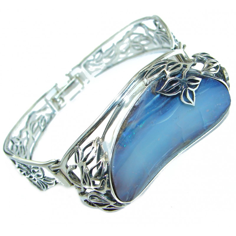 Norwegian Northern Lights Boulder Opal handmade .925 Sterling Silver Bracelet / Cuff
