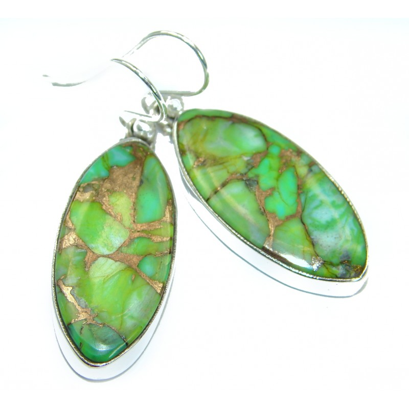 Precious genuine Green Turquoise .925 Sterling Silver handmade earrings