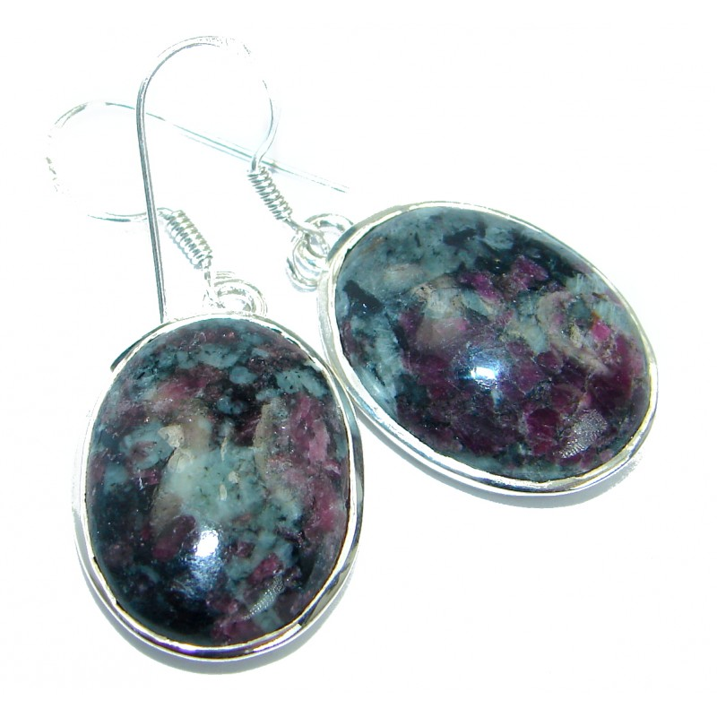 Excellent Green Russian Eudialyte .925 Sterling Silver handmade earrings
