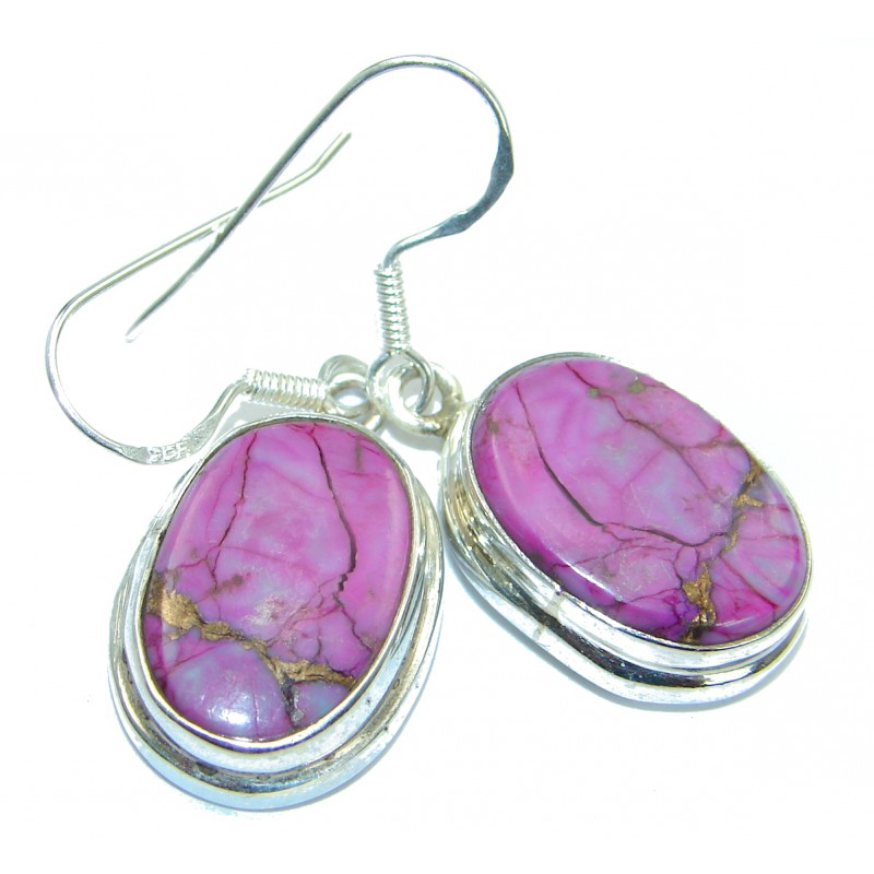 Precious genuine Purple Turquoise .925 Sterling Silver handmade earrings