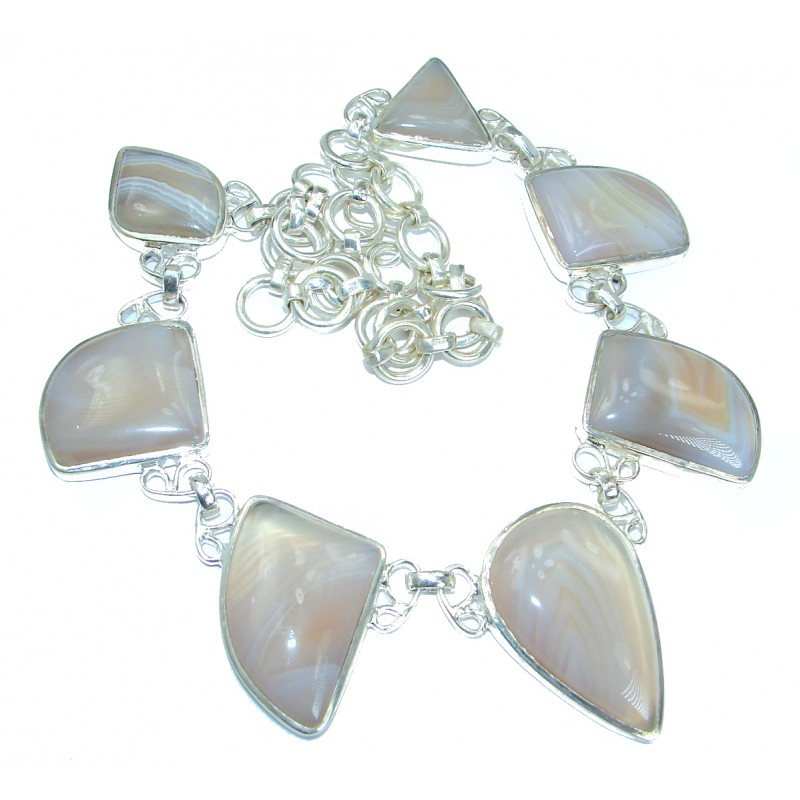 Boho Style Aura Of Beauty Natural Botswana Agate .925 Sterling Silver handmade necklace