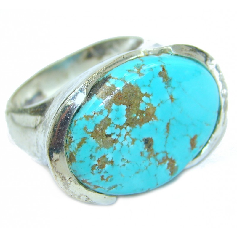 Huge Turquoise .925 Sterling Silver ring; s. 7 1/4