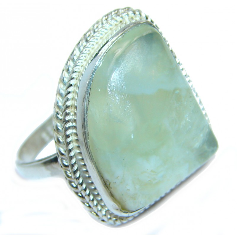 Natural Moss Prehnite .925 Sterling Silver handmade ring s. 9