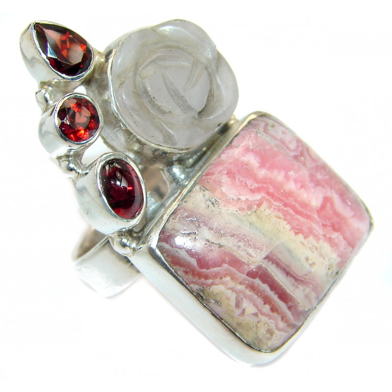 Top Quality Rhodochrosite .925 Sterling Silver handmade ring size 6