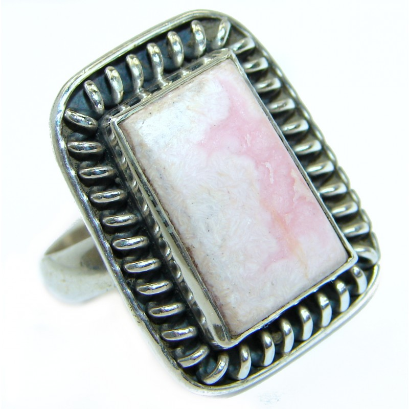 Top Quality Rhodochrosite .925 Sterling Silver handmade ring size 9