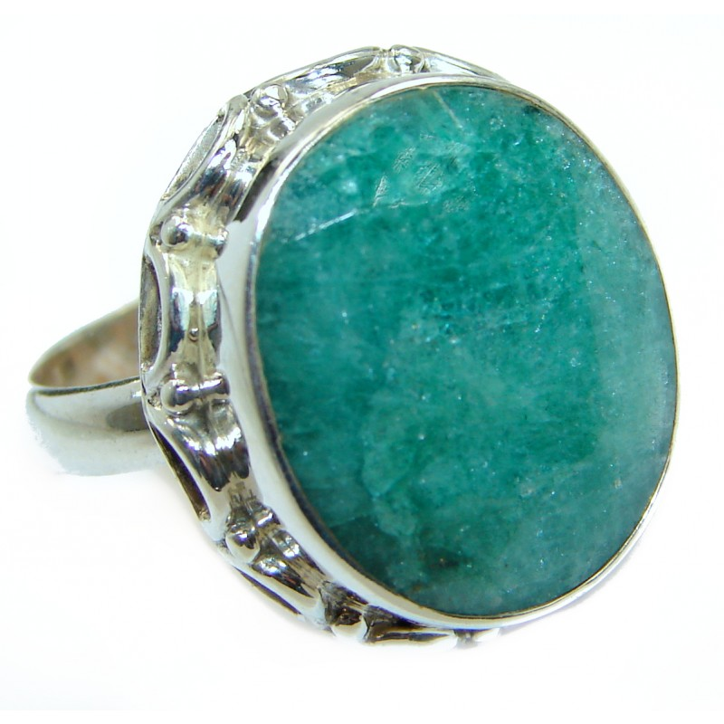 created Emerald & White Topaz Sterling Silver Ring s. 8 3/4