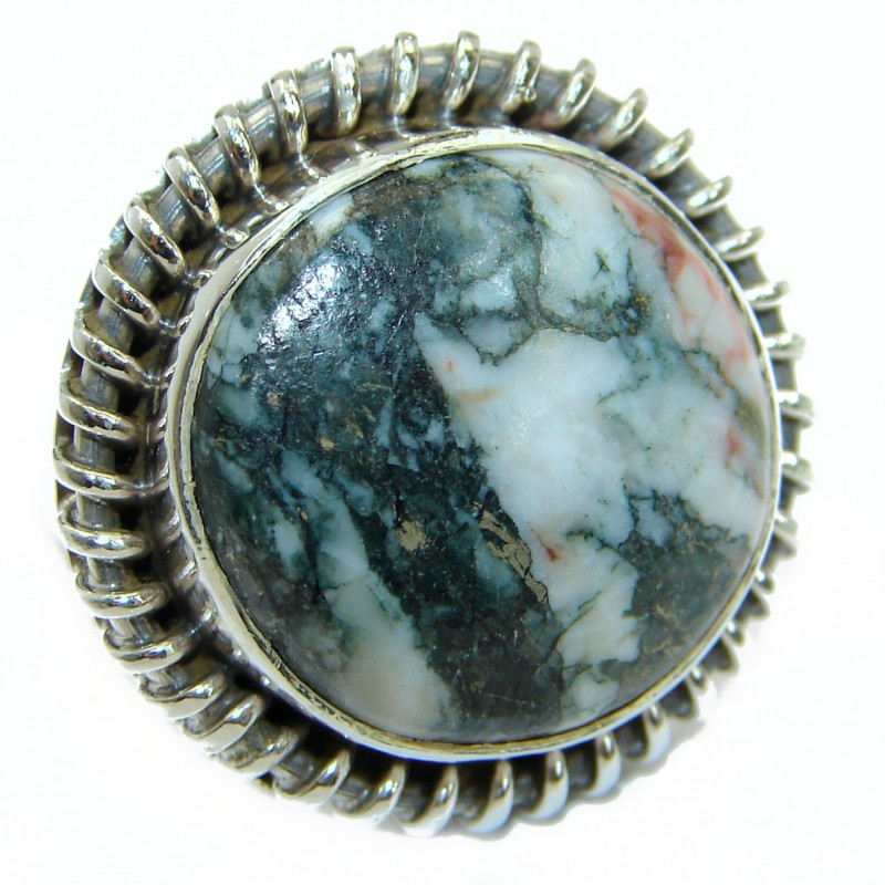Excellent Rose Regency Jasper Sterling Silver Ring s. 7 1/4