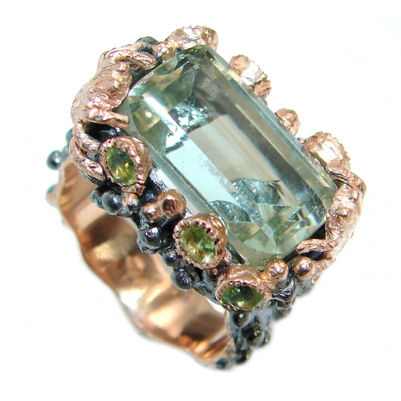 Natural Green Amethyst Gold over .925 Sterling Silver handmade Cocktail Ring s. 8 adjustable