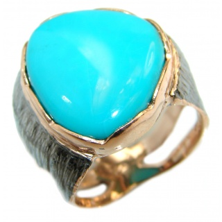 Sleeping Beauty Turquoise 14K Gold over .925 Sterling Silver handcrafted ring; s. 8