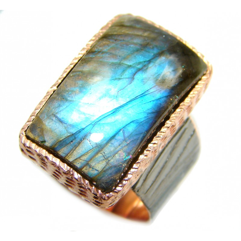 Large Fire Labradorite Rose Gold over .925 Sterling Silver handmade ring size 8 3/4