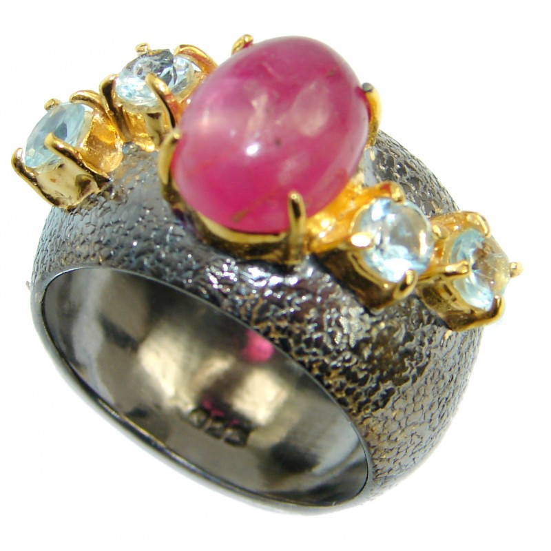 Genuine Ruby Gold Rhodonite over .925 Sterling Silver Statement ring; s. 8 1/4