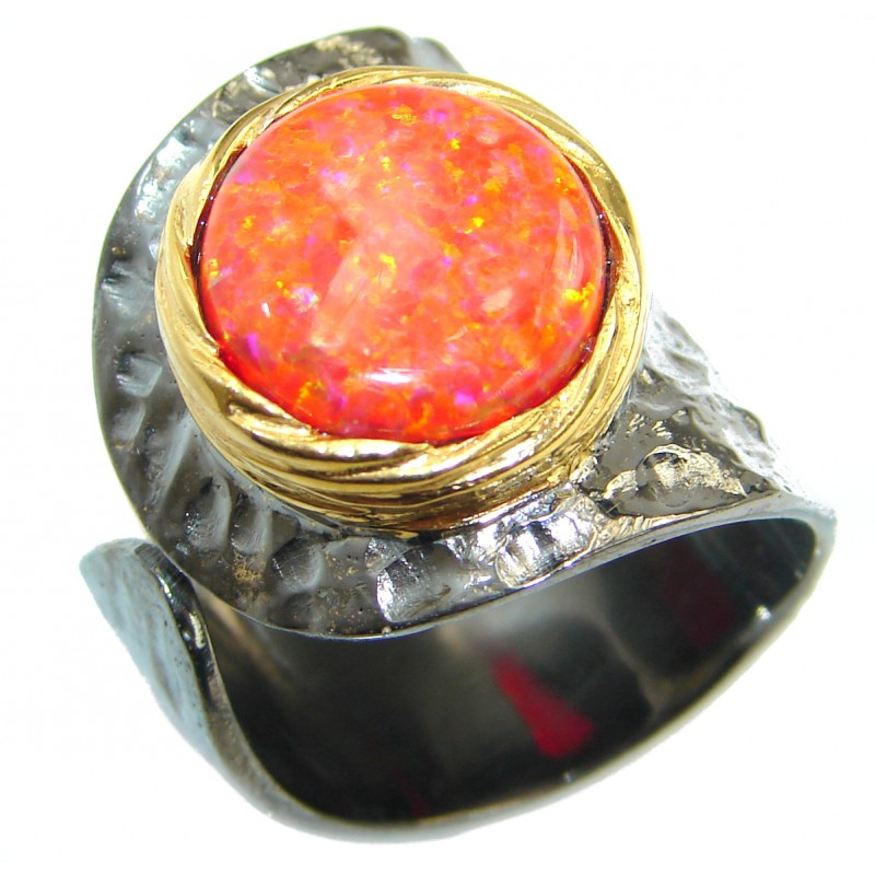 Japanese Red Opal .925 Sterling Silver handcrafted poison ring size 7 adjustable
