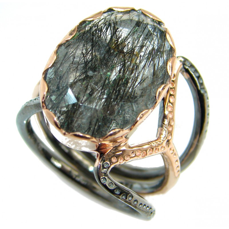 Genuine Tourmalinated Quartz Rose Gold Rhodium over .925 Sterling Silver Ring size 8 adjustable