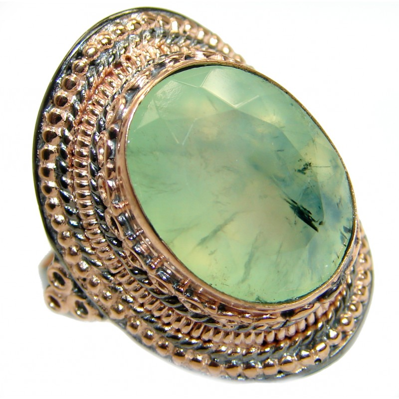 Vintage Design Prehnite Rose Gold over .925 Sterling Silver handmade Cocktail Ring s. 7 adjustable