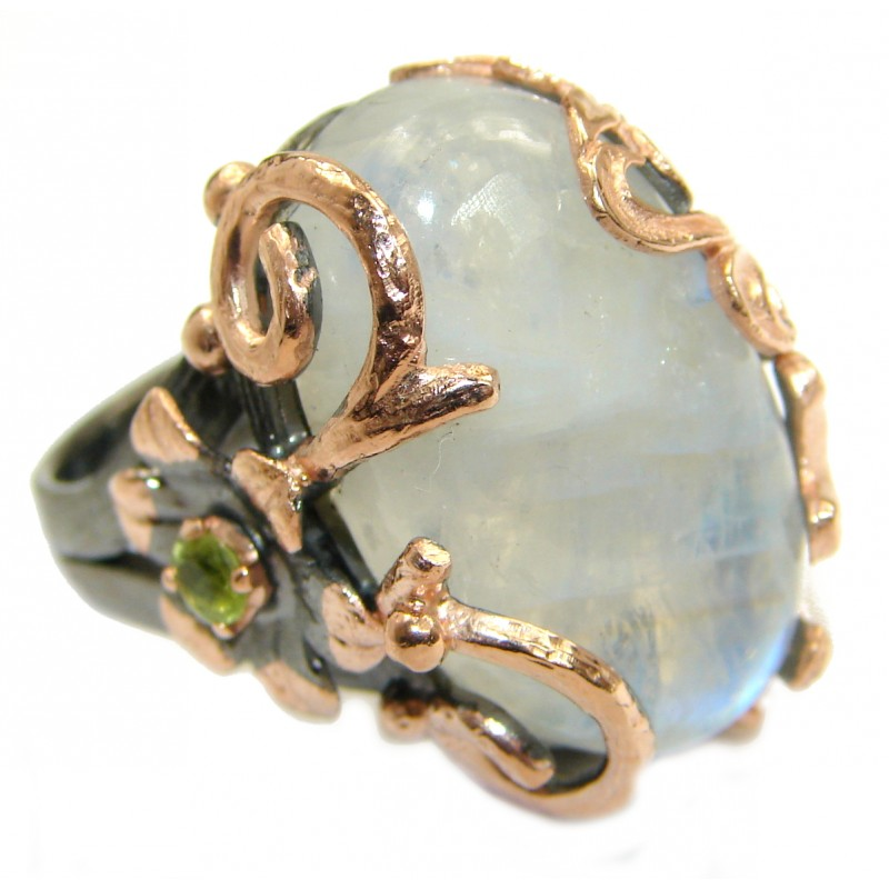 Huge Fire Moonstone Peridot 18K .925 Sterling Silver handcrafted ring size 8