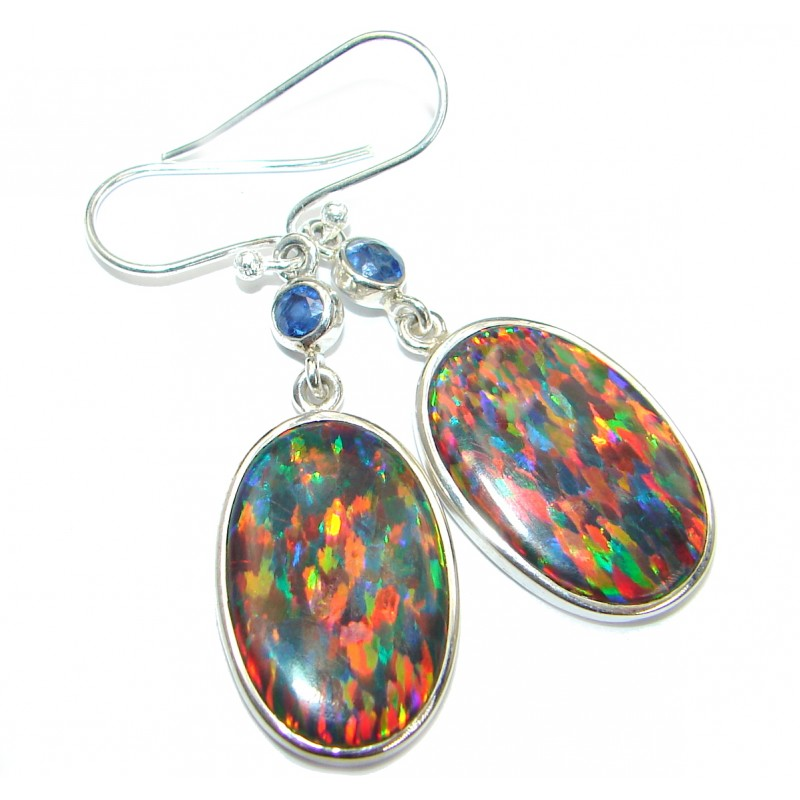Japanese Fire Opal Kyanite .925 Sterling Silver handmade earrings