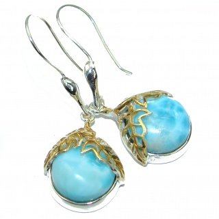 Blue Legacy Larimar 14K Gold over .925 Sterling Silver handmade earrings