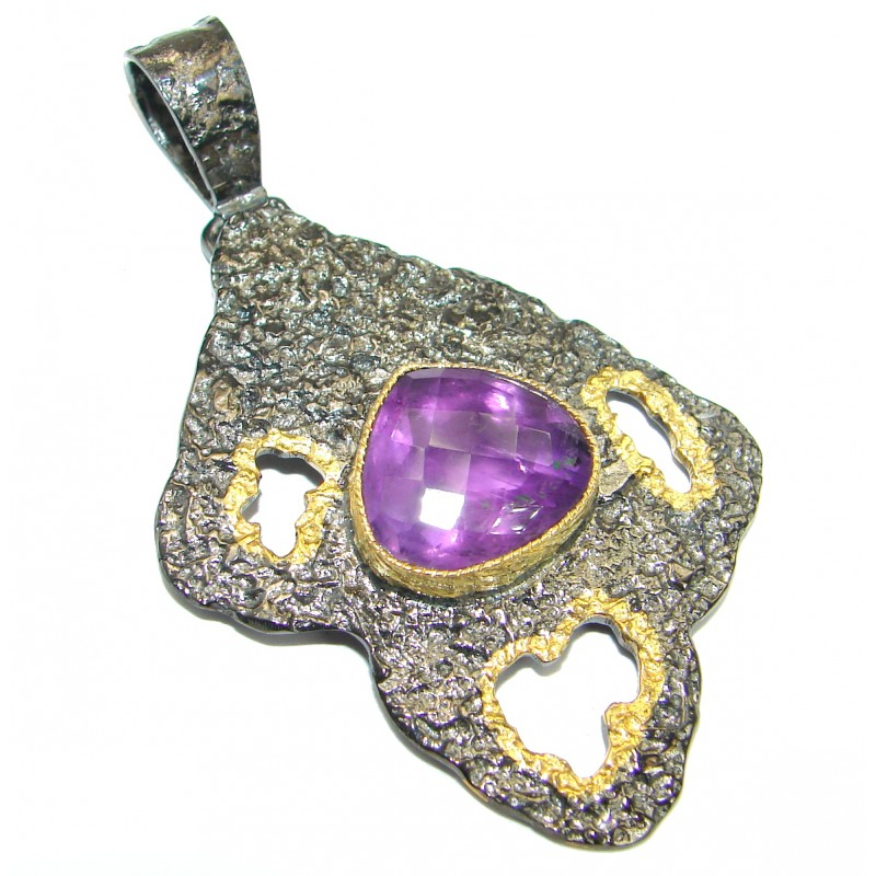 Rich Design Natural Amethyst Rhodium Gold over .925 Sterling Silver handmade Pendant