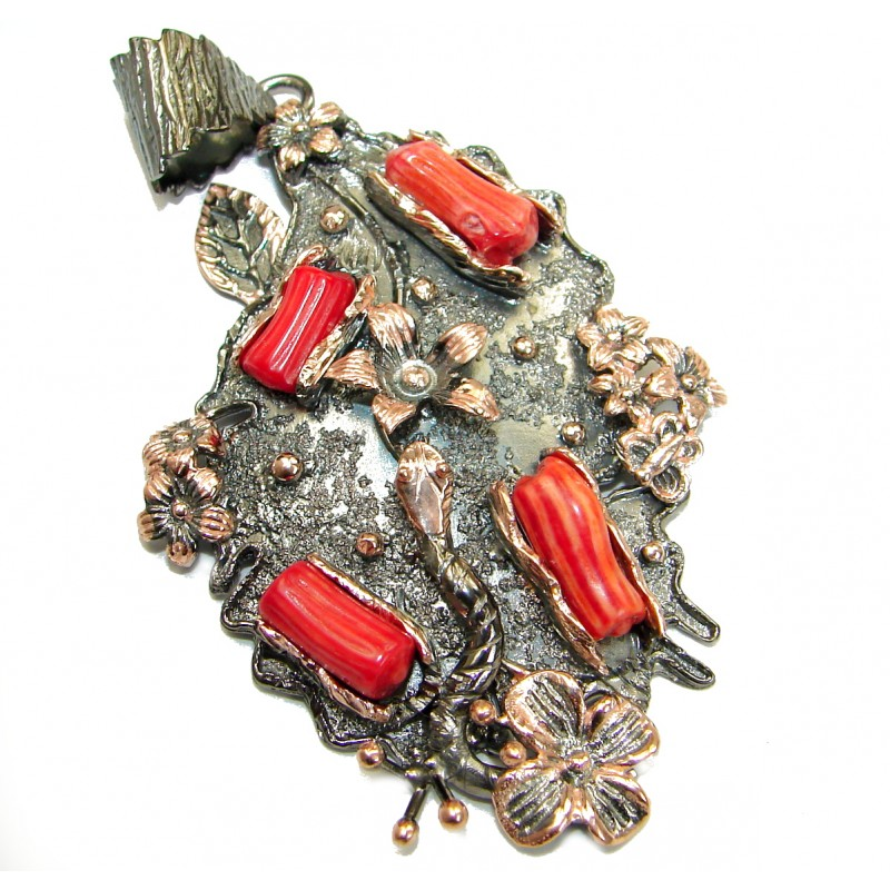 Huge Genuine Coral Rhodium Gold over .925 Sterling Silver handcrafted Pendant