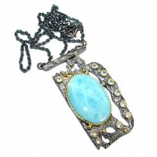 Luxury Larimar Swiss Blue Topaz Gold over .925 Sterling Silver handcrafted necklace