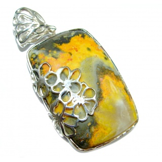Huge Authentic Bubble Bee oxidized .925 Sterling Silver handmade Pendant