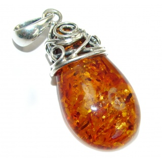 Huge natural Baltic Amber .925 Sterling Silver handmade Pendant