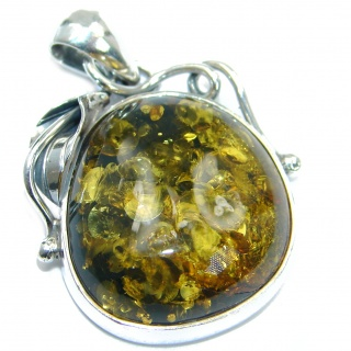 Natural Green Baltic Amber .925 Sterling Silver handmade Pendant
